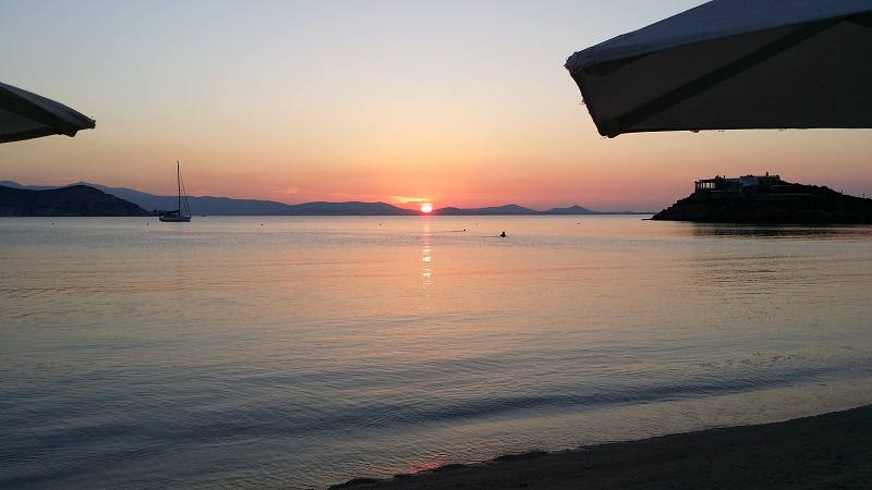 Sunset at Saint George Beach in Naxos